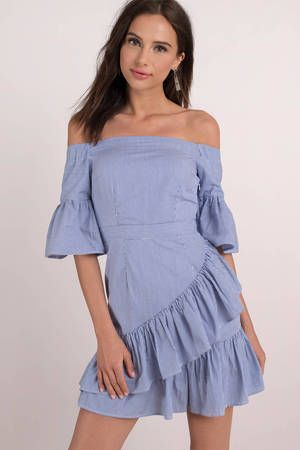 1a7bc93cb7c8 Lucca Couture Vivienne Ruffle Wrap Skirt Dress  shoptobi  ruffle  stripe   vacation  offshoulder