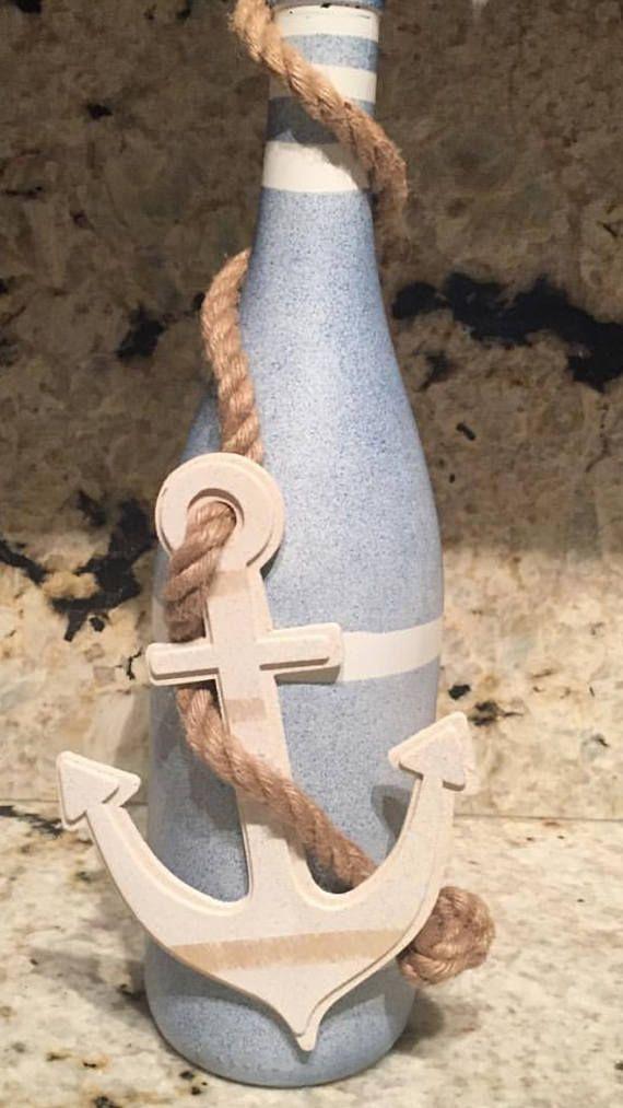Coastal/nautical anchor home decor wine bottle