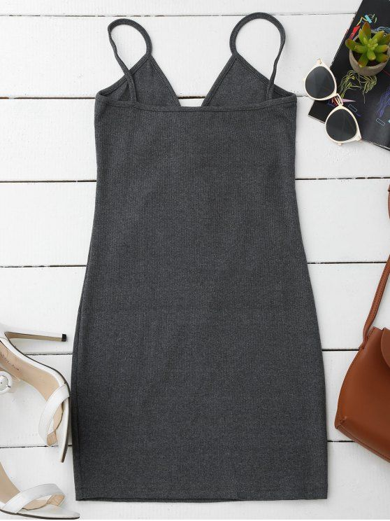 Lace Up Cami Knit Bodycon Dress - GRAY ONE SIZE