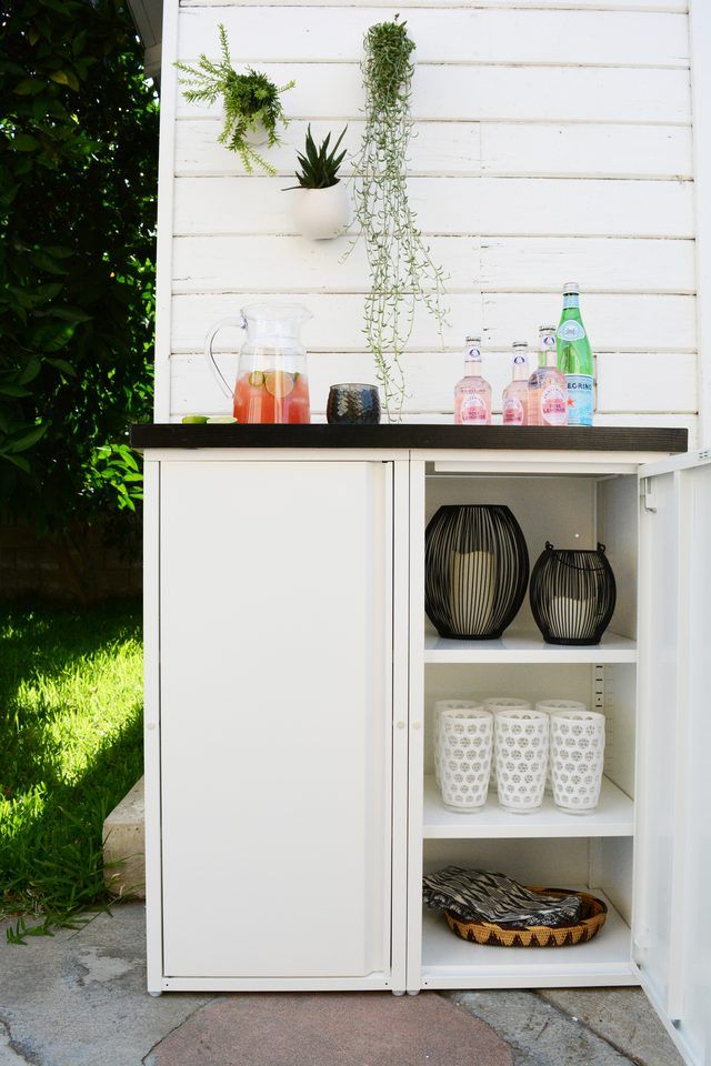Take your outdoor dining experience to the next level with a stylish DIY outdoor buffet. Perfect for storing all your dishes and serving drinks and food on.