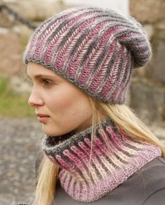 Phoenix Hat and Cowl free knitting pattern from DROPS Design. Great for multi-colored yarn. See this and more free cowl knitting patterns at http://intheloopknitting.com/cowl-knitting-patterns/