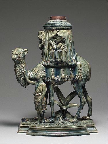 Wilhelm Schiller & Son majolica camel oil lamp