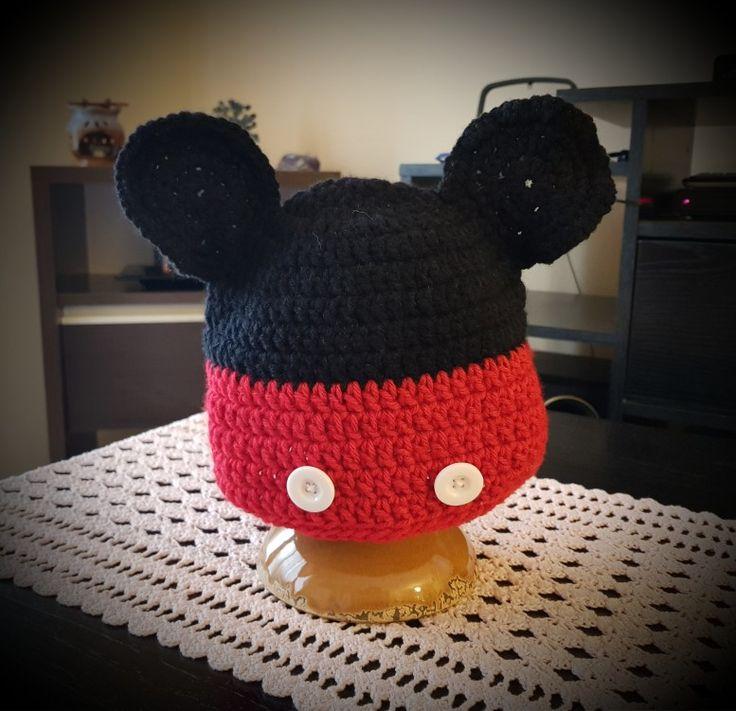 Gorro Mickey a crochet -T: 2 a 5 años