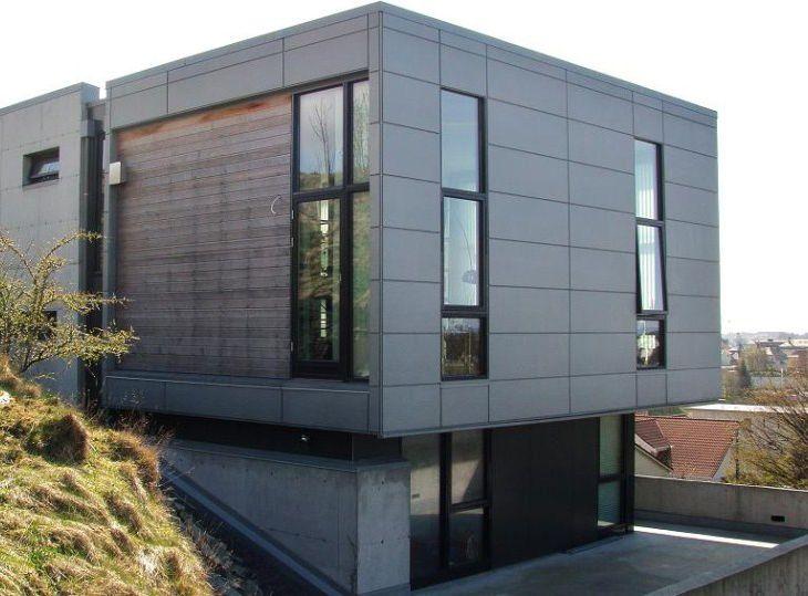 Villa Alendal Haugesund. Petal panelplater i aluminium.