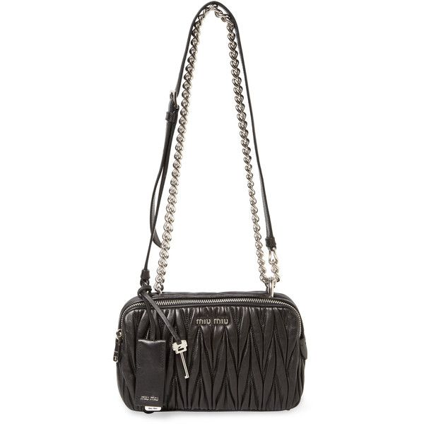 Miu Miu Women's Small Matelass Leather Crossbody - Black ($1,144) ❤ liked on Polyvore featuring bags, handbags, shoulder bags, black, crossbody purse, genuine leather handbags, miu miu handbags, crossbody shoulder bags and chain strap shoulder bag