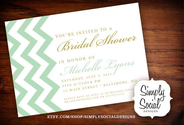 Chevron Mint and Gold Bridal Shower Baby Shower Invitation by SimplySocialDesigns on Etsy https://www.etsy.com/listing/129769857/chevron-mint-and-gold-bridal-shower-baby