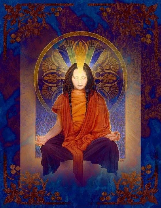 Luz interna na meditação.