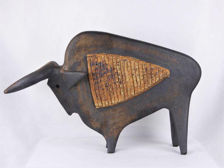 "Pouchain Grande sculpture ""Toro"", dlg Capron Chambost Vallauris"