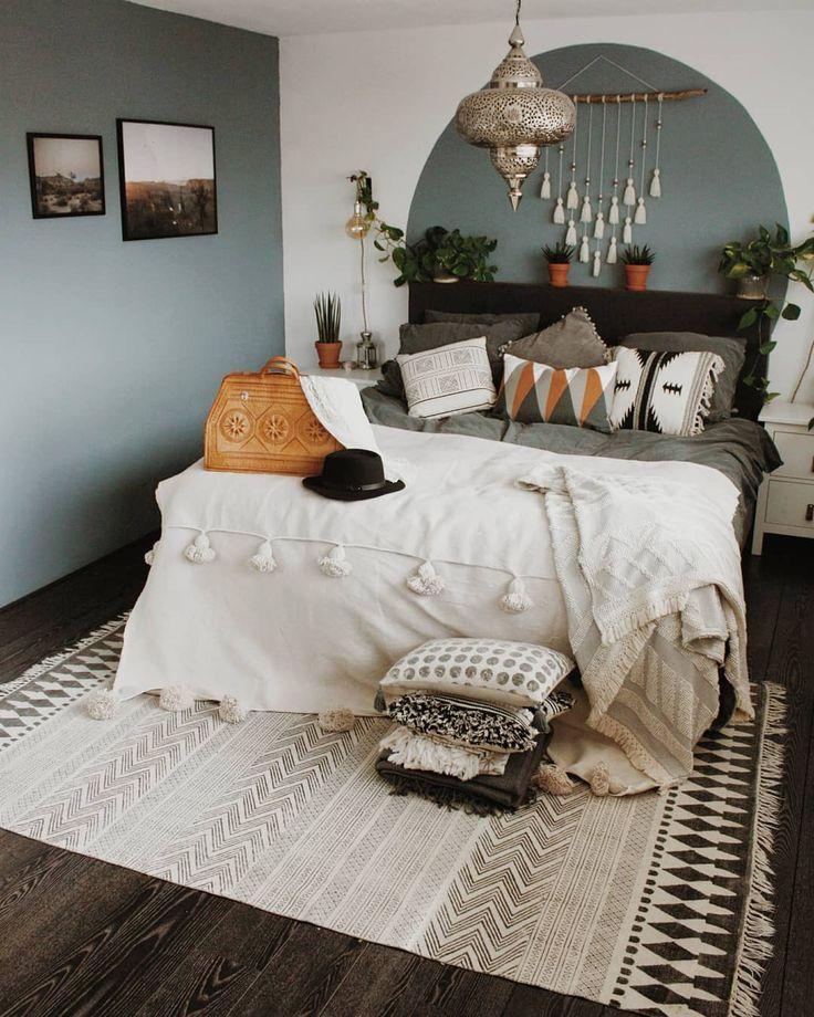 Boho Bedroom Grey Bedroom Grey Wall Pompom Blanket Pillows Tassels Desenio Bohem Green And White Bedroom Gray Bedroom Walls Sage Green Bedroom