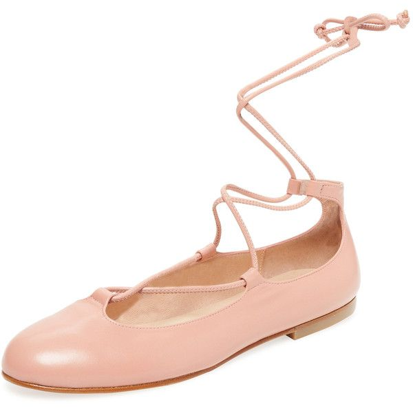 French Sole FS/NY French Sole FS/NY Women's Orlando Lace-Up Ballet... ($129) ❤ liked on Polyvore featuring shoes, flats, pink, ankle wrap ballet flats, pink leather flats, ballerina shoes, leather flats e ballet shoes