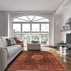 Louis De Poortere Fading World Rug Living Room - Modish Living Rugs - Deep orange and rust vintage looking rug