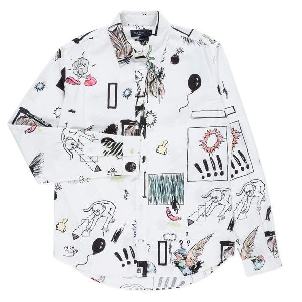 Paul Smith Men's White 'Graffiti' Print Shirt (€160) ❤ liked on Polyvore featuring men's fashion, men's clothing, men's shirts and men's casual shirts