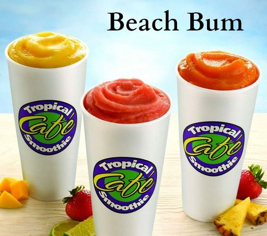 Tropical Smoothie Cafe -- Beach Bum -- In Blender Add:  -1/2 cup milk  -6 -7 frozen strawberries -1/2 ripe banana  -1/2 tablespoon sugar  -1 baker's white chocolate square  -1 cup ice   Directions:    1.) Melt chocolate in microwave for about 1 to 1 1/2 minutes, just enough until the chocolate is soft.  2.) Add all ingredients to blender, blend until smooth. 3.) Enjoy! MAKES ONE SERVING