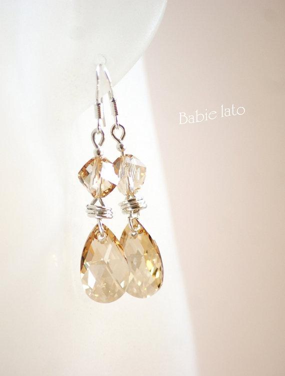 Shining gold //  gold swarovski crystals with by ILoveIndianSummer, £25.00