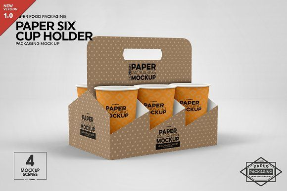 Paper Six Cup Carrier Holder Mockup In 2020 Design Mockup Free Free Psd Mockups Templates Mockup Psd