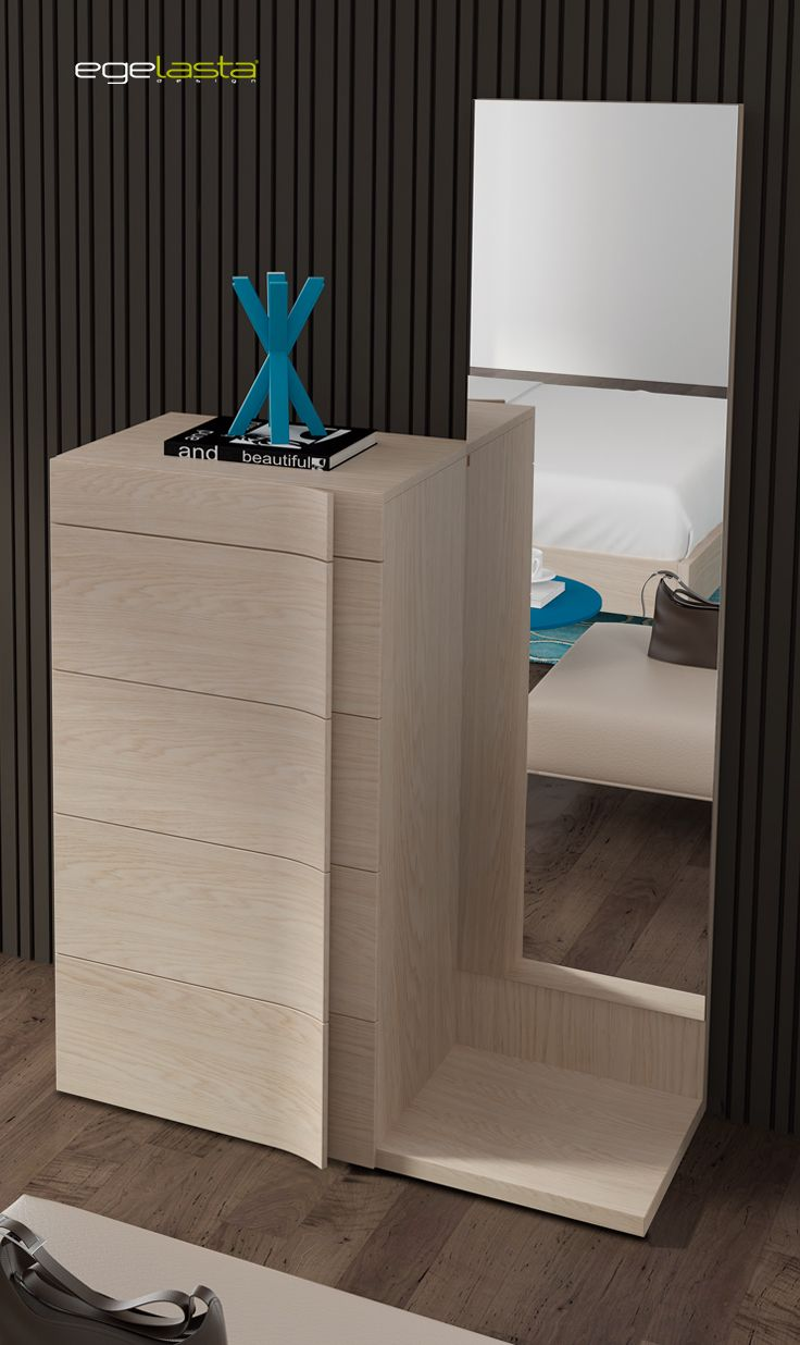 Muebles · egelasta · live · mueble · madera · moderno · dormitorio · conjunto chifonier · chinfonier · espejo con tarima · roble nórdico