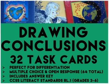DRAWING CONCLUSIONS TASK CARDS  32 TASK CARDS  GRADES 3   6   Multiple Choice  amp  Open Response Format  64 cards total    Perfect for differentiation  inferencing skills  ela test prep  and literacy center ideas   drawingconclusionstaskcards