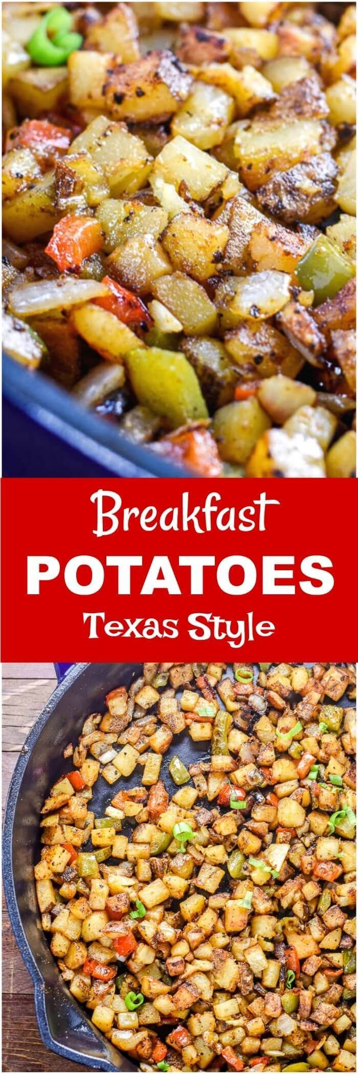 These Breakfast Potatoes are bites of roasted potatoes spiced up Texas style with taco seasoning, chopped onions, red bell peppers, and jalapenos, and will kick-start your breakfast or brunch.