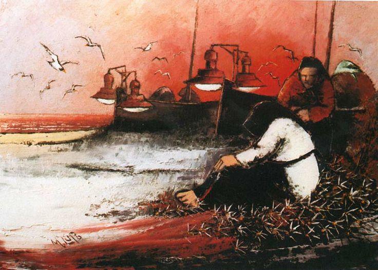 Mario Lupo, Lampare al tramonto, 1977, olio su tela, 70 x 50 cm,