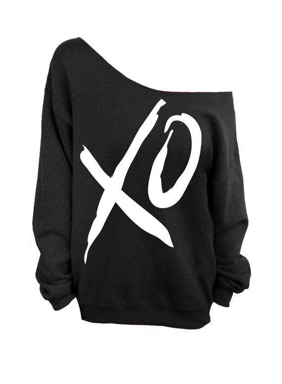 XO  Valentines Day  Black Slouchy Oversized by DentzDesign on Etsy, $29.00:
