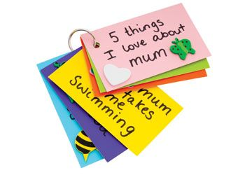 5 Things I Love About Mum. Children create a lovely key ring with 5 hand written things they love about Mum. Decorate with the foam featuring hearts & bugs. Makes 31