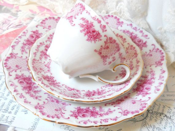 vintage tea cup trio pink teacup Theresia shabby by MinoucBrocante