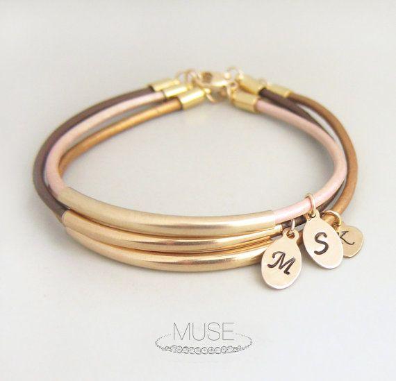 Bar Envy - Personalized Leather Bracelet, Custom Initial Charm Bracelet, Gold Bar Bracelet, Monogram Bracelet, Bridesmaid Gift