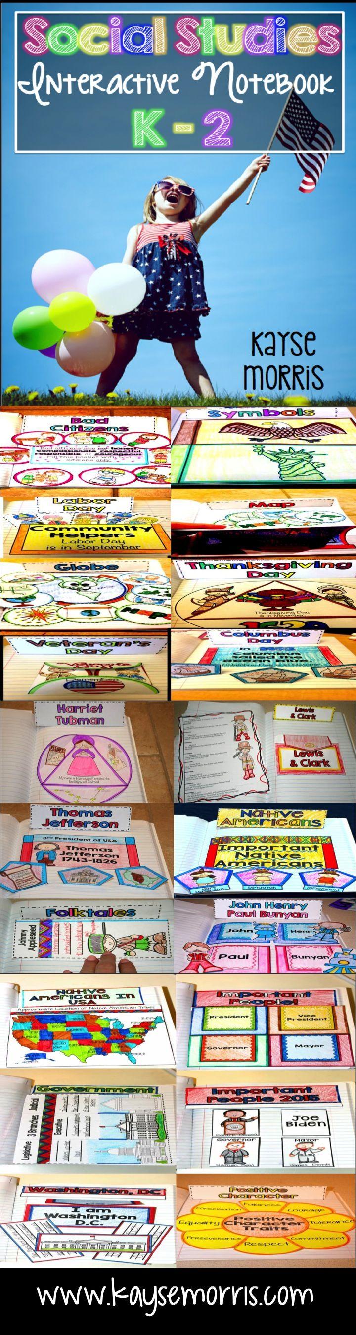 Social Studies Interactive Notebook Kindergarten - 2nd Grade.  www.kaysemorris.com  https://www.teacherspayteachers.com/Product/Social-Studies-Interactive-Notebook-1962505