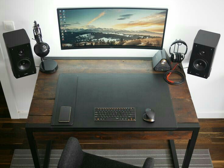 Curve Widescreen Brown Wooden Desk Setup Cool Awesome Modern