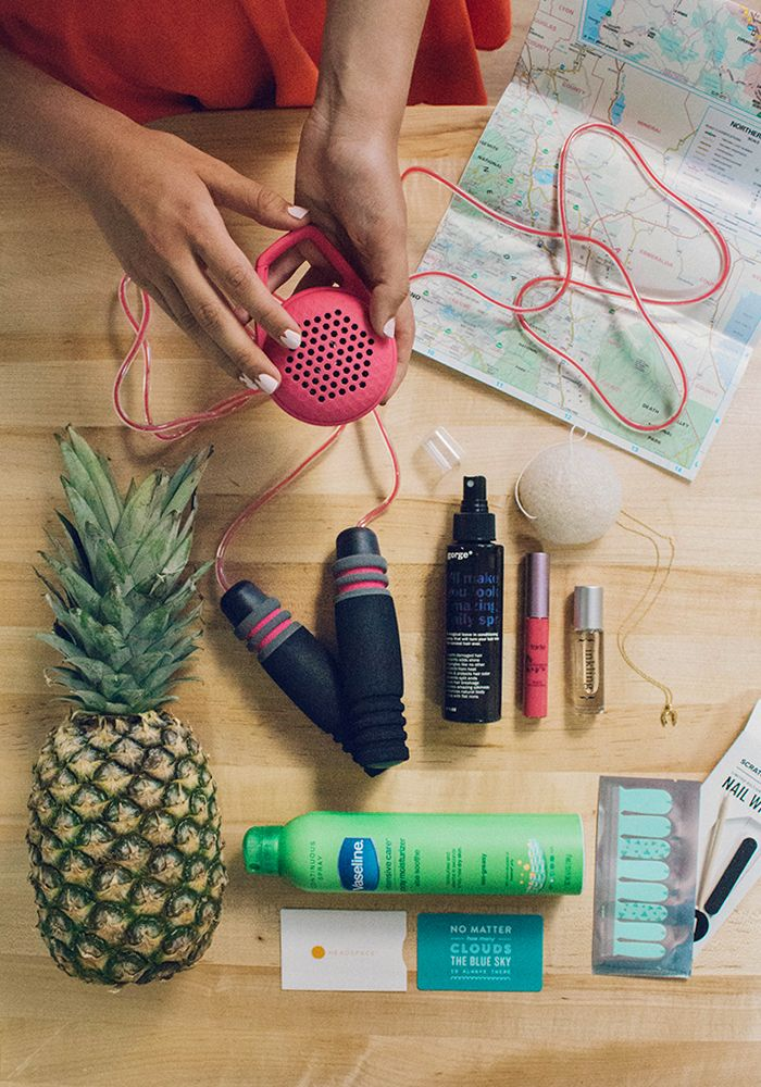 """FabFitFun Summer Box 2015. Includes: Wren 14k gold or rose-gold dipped necklace. Wireless Everyday Speaker from FabFitFun. """"I'll Make You Look Amazing Daily Spray"""" from Gorge, Inkling Roll On Perfume, Tarte LipSurgence lip gloss, CosmoBody jump rope, Scratch Nail Wraps, Intensive Care Spray Moisterizer with Aloe by Vaseline, Headspace Gift Card. Use code PINTEREST10 to receive 10 dollars off and the Fruit Infuser Bottle until 8/20/2015"""