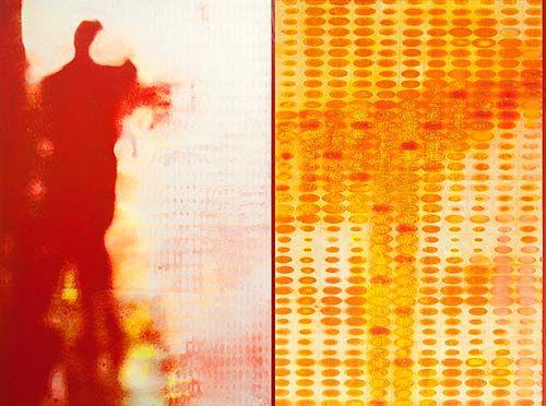 Robert Boynes, 'Off the Grid' 2013, acrylic on canvas - diptych, 120 x 162cm