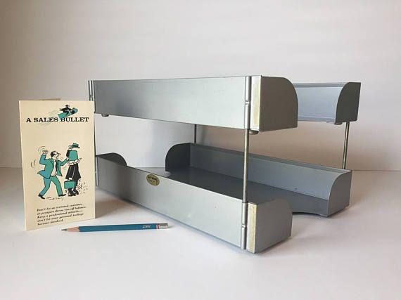 Vintage Industrial Metal Desk File Legal Desk File Organizer