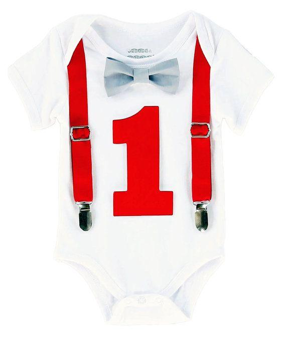 Primer Outfit cumpleañero cumpleaños rojo por NoahsBoytiques