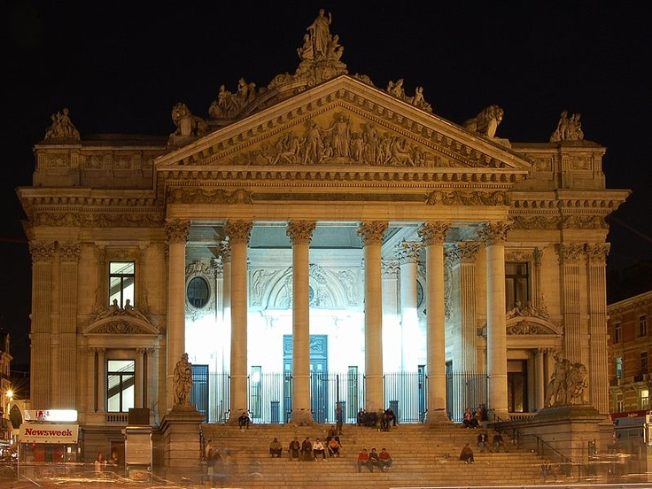 Brussels Stock Exchange at night.
