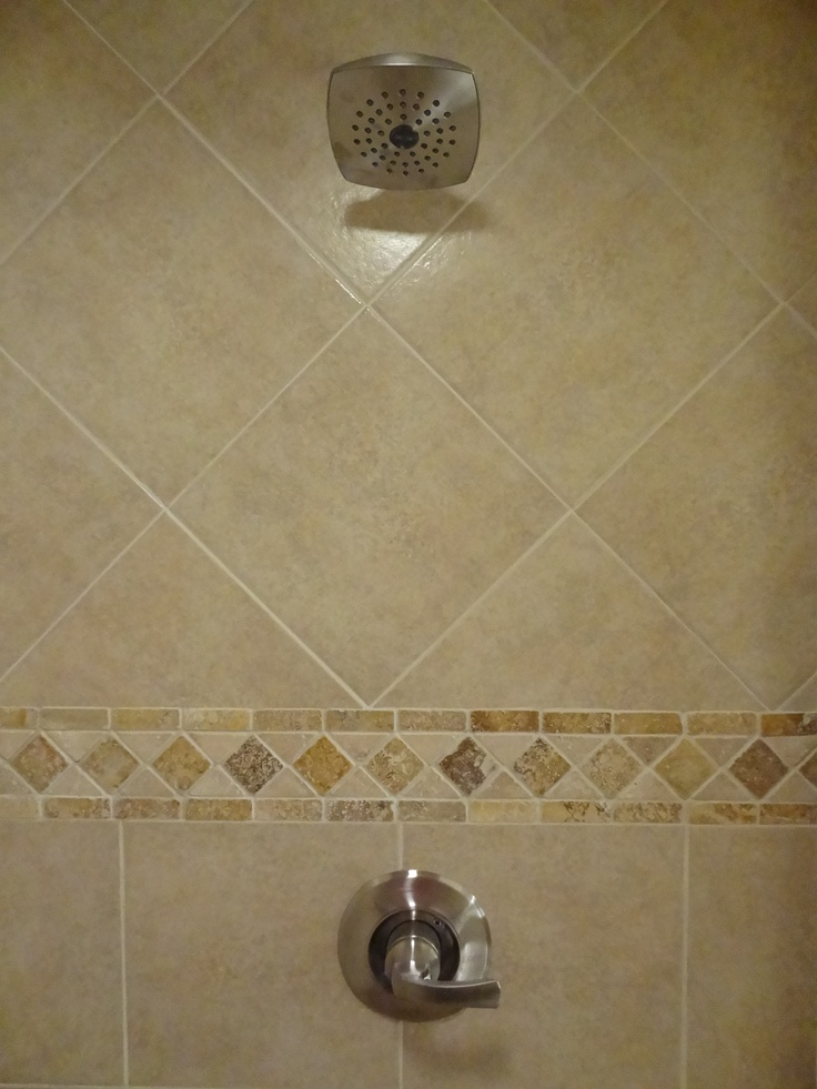 bathroom tiles with border our own ceramic shower tile with travertine border detail 16895