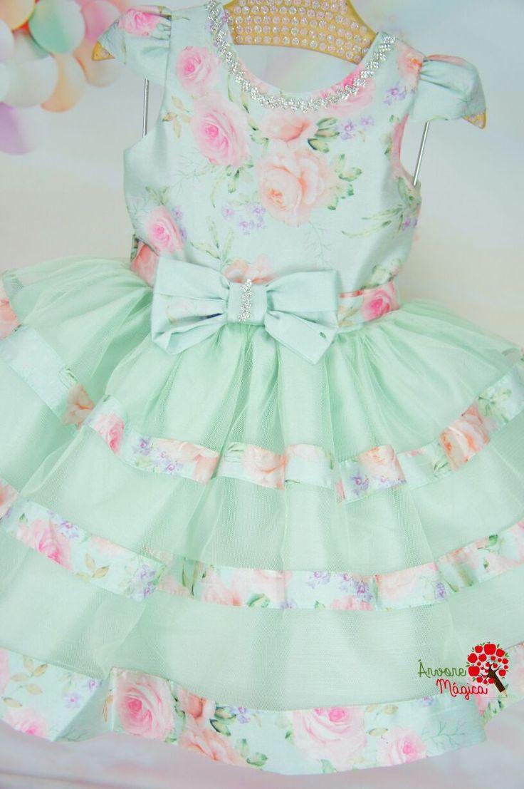 Vestido Infantil de Festa Verde Floral Petit Cherie