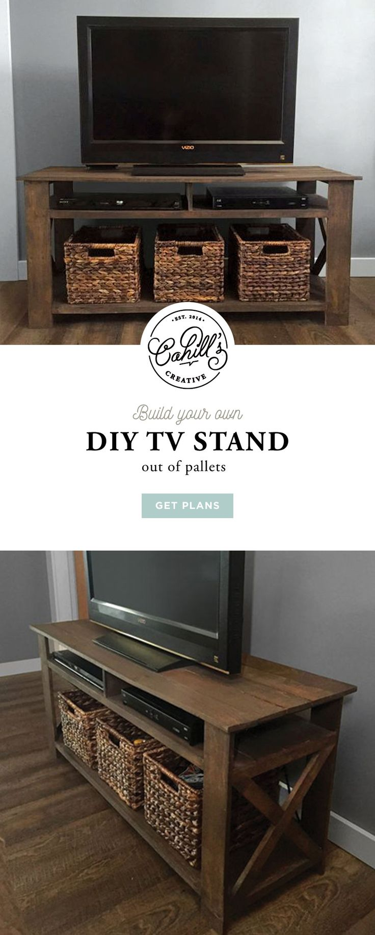 Build your own DIY Tv Stand out of pallets. Visit Etsy for the plans https://www.etsy.com/listing/270690202/rustic-pallet-tv-stand-plans #diy #doityourself #palletfurniture #tvstand