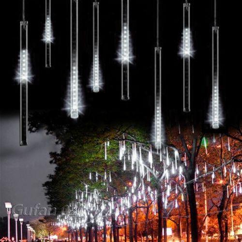Leuchte ?ber Dusche : Meteor Dusche Regen Wei? Licht Lichterkette Weihnachten Baum Leuchte