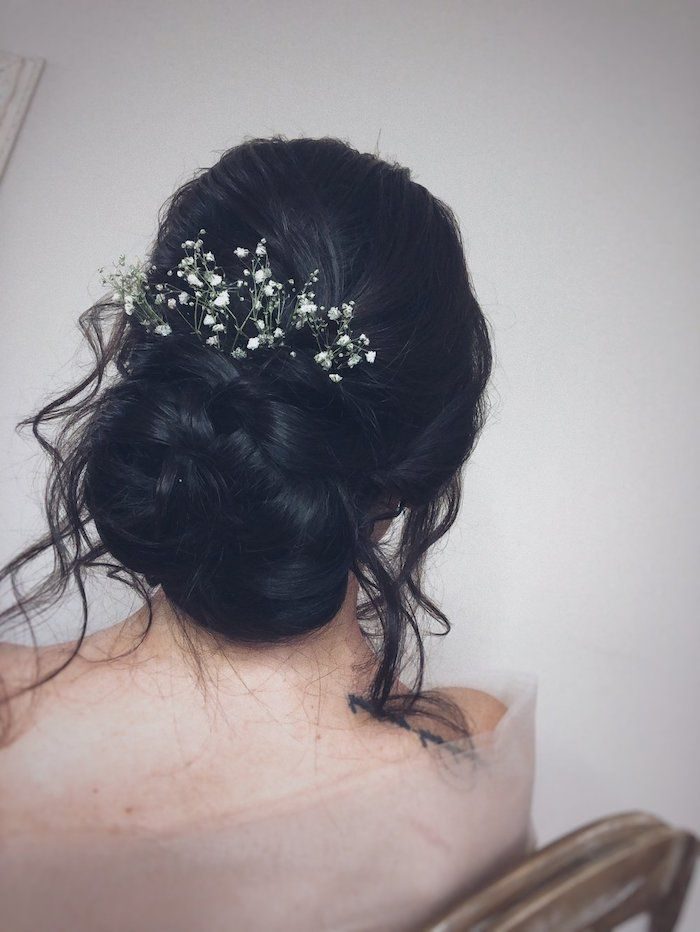 Black Hair Braided Low Updo Small Flower Hair Accessory Easy To Do Hairstyles White Background Wavy Wedding Hair Hair Styles Flower Hair Accessories
