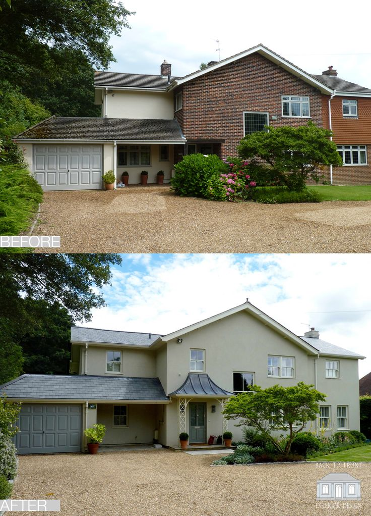 Exterior Transformation in Reigate, Surrey by Back to Front Exterior Design. This house had a good shape but the combination of materials and window configuration was very poor, making it rather unfriendly. With an experienced eye it was possible to use a light touch to transform the exterior with the application of new materials and detailing. Internally there was a bit more work involved to remodel the interior to fulfil the needs of family life but the efforts were well worth it and the…