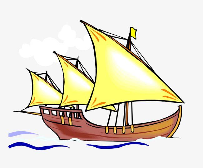Cartoon Sailing Vessel Cartoon Vector Yellow Cartoon Png