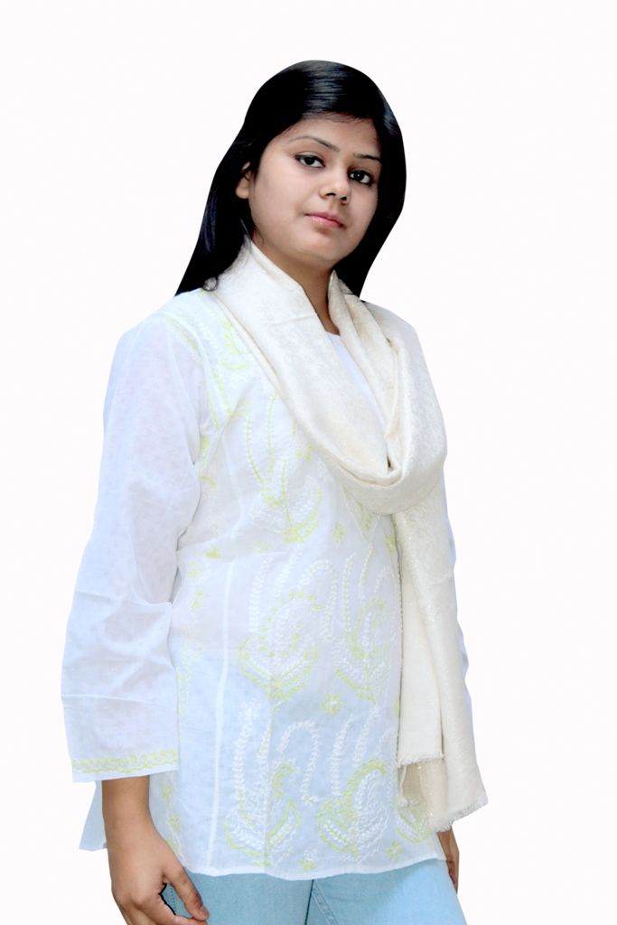 golden viscose stole with peacock embroided from lucknow. You can visit www.troverna.com to shop