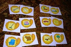 Free Thanksgiving early literacy activities, alphabet cards, rhyming match, etc...