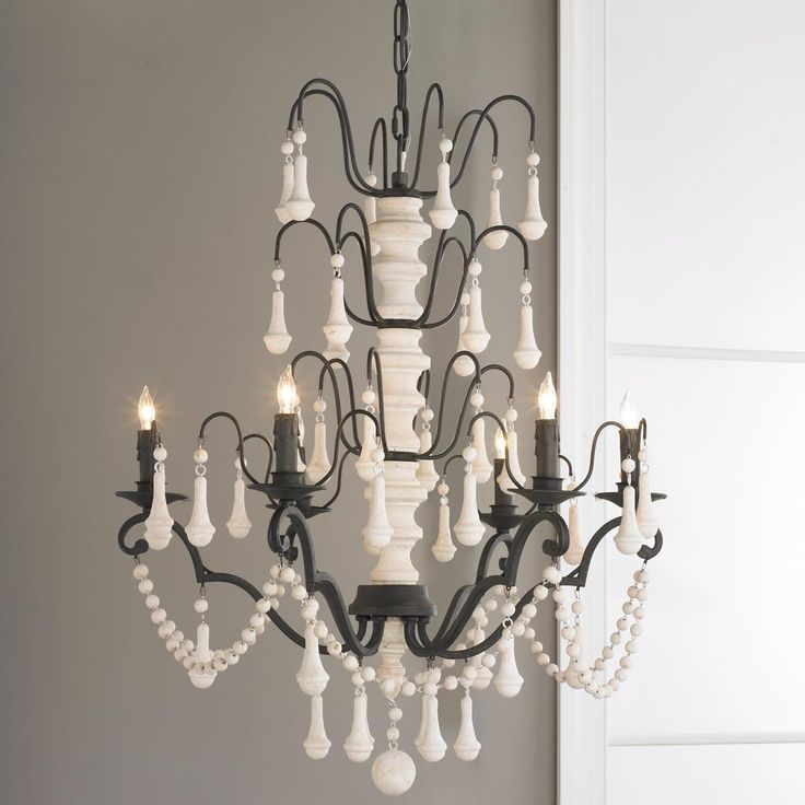 Natural shell necklace chandelier 3 lt iron for Natural wood chandelier