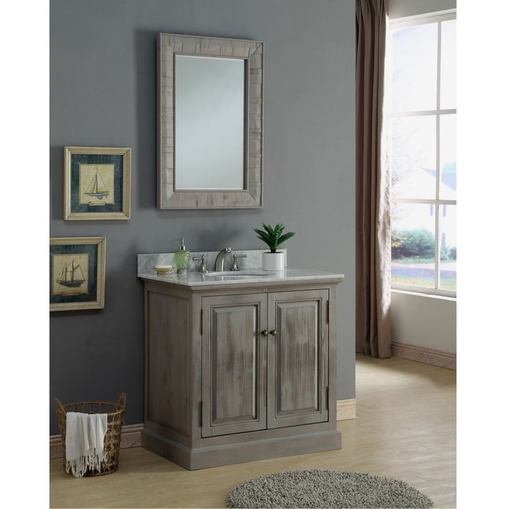 Infurniture Rustic 36-inch Carrara Single Sink Bathroom Vanity With  Matching Wall Mirror (Carrara