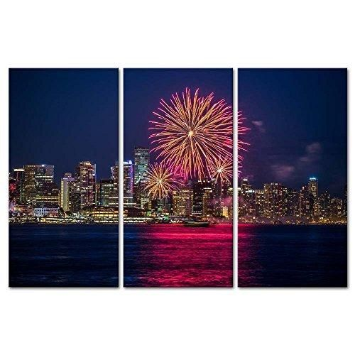 3 Pieces Modern Canvas Painting Wall Art The Picture For Home Decoration Celebration Of Canada Day Fireworks Vancouver British Columbia Night Cityscape Print On Canvas Giclee Artwork For Wall Decor