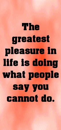 The greatest pleasure in life is doing what people say you c... - shared via pinterestpicture.com