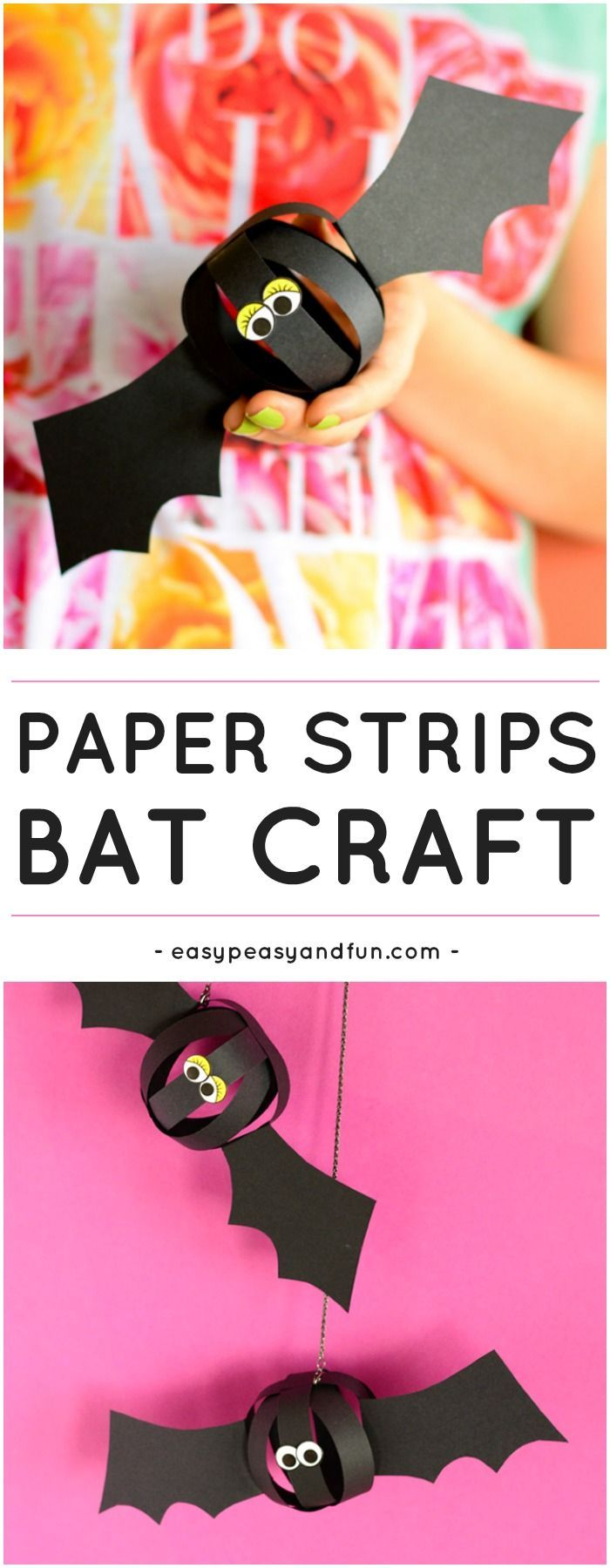 Paper Strips Bat Craft. Fun Paper Halloween Craft for Kids to Make.