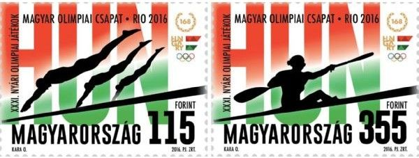 Magyar Post issued two Rio 2016 Olympic stamps featuring swimming and kayaking sports events.