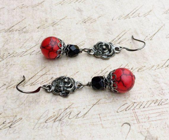 Red Earrings Black Earrings Flower Earrings by SmockandStone